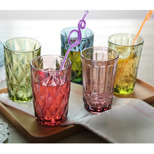 Water Glass Juice Glasses for Drinking Tea 300 ml 270 350 250 Pink Blue Green Transparent Kitchen Dining Bar Drinkware