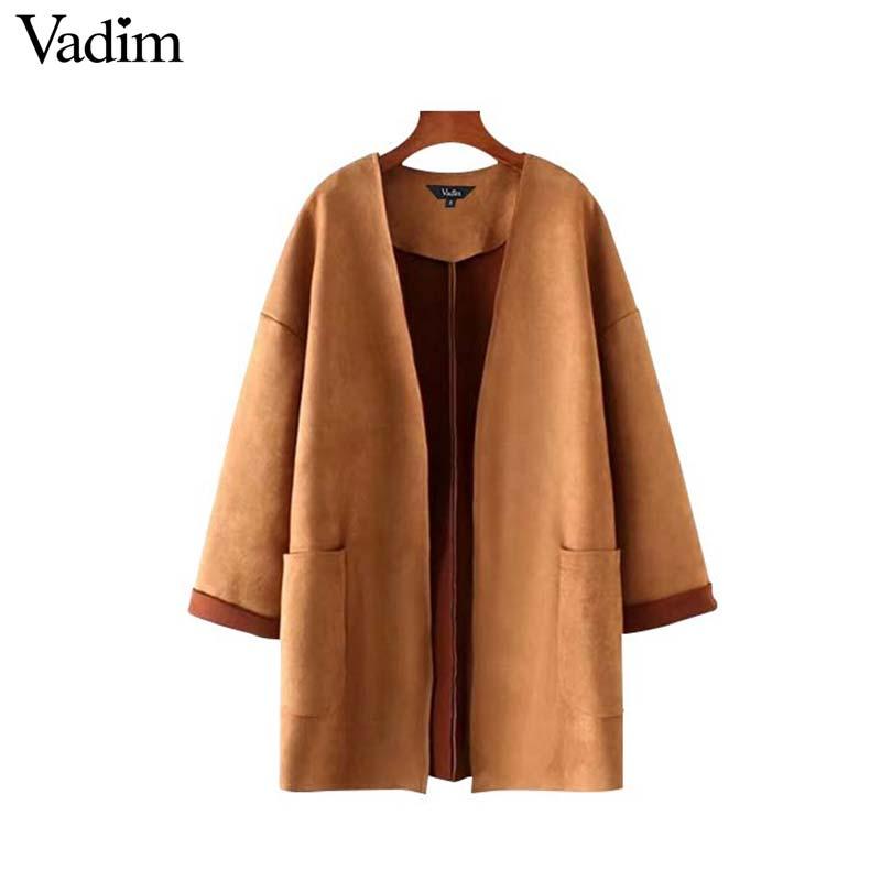 вадим замшевые женские теплые длинные пальто открыть стежка карманов в