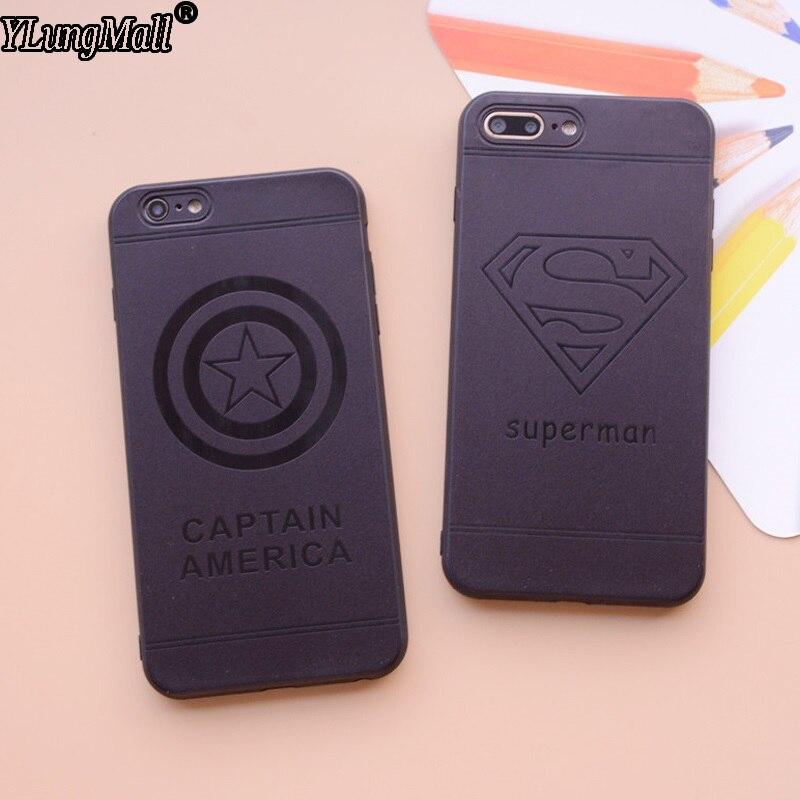 Galleria fotografica Soft Protector Case For iPhone 6 6S Plus X Silicone Cover Fundas Coque For iPhone 7 8 plus Cases Rubber Superman Ironman Batman