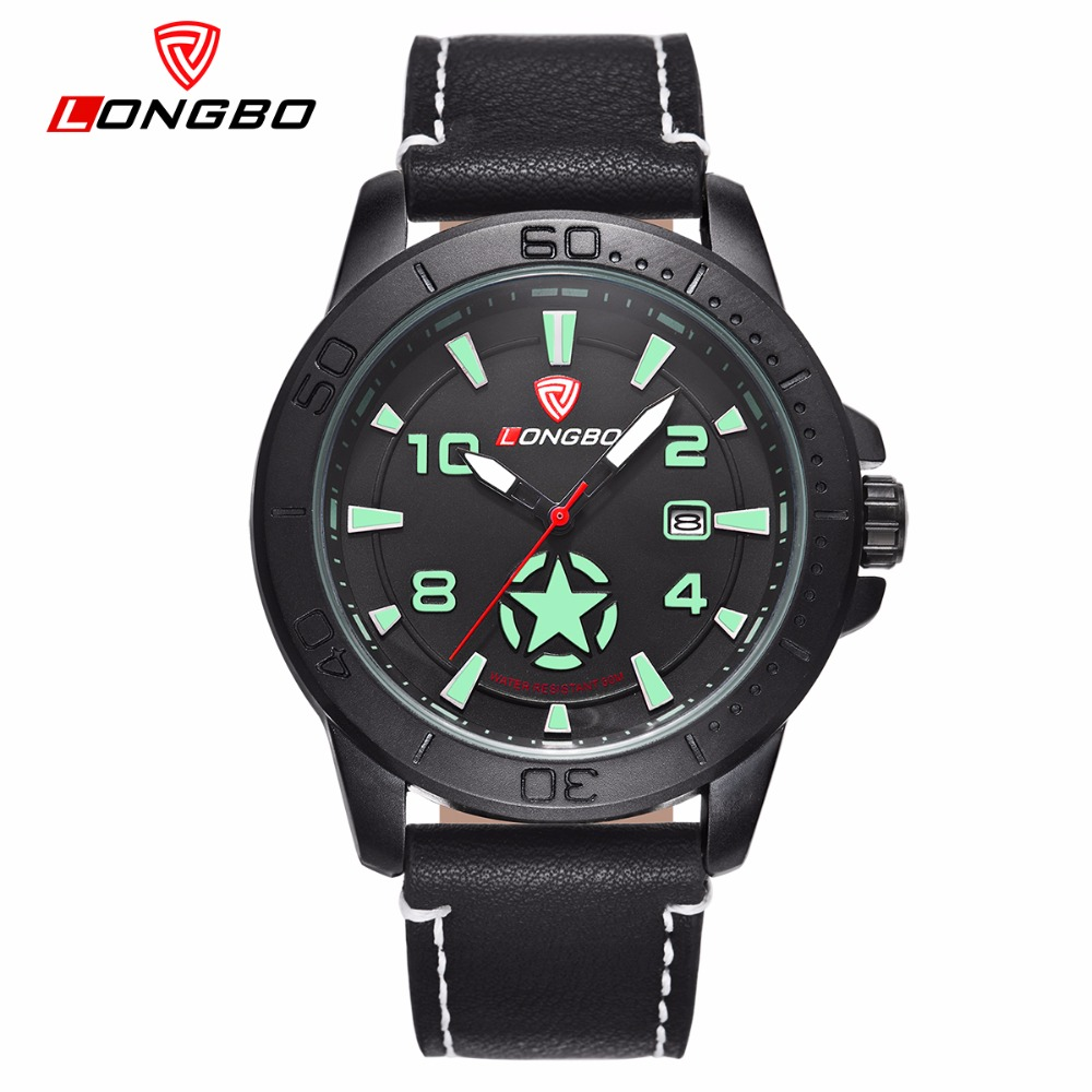 LONGBO Luxury Men Genuine Leather Quartz Watch 2016 Men s Sports Military Calendar Waterproof Wristwatch Relogio