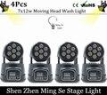 4Pcs/lots  CREE 7x12W RGBW quad mini led wash moving head light LED stage lights Mini LED Moving Head 14 channels