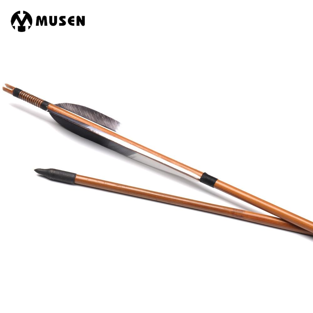 6 12 24 pcs 30 polegadas espinha 500 setas de bambu com pena do peru para