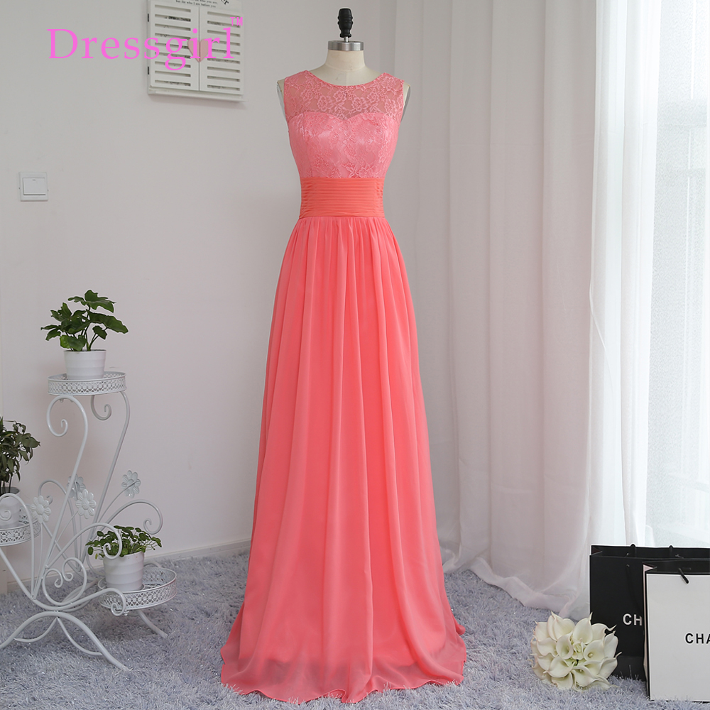 Online get cheap coral lace bridesmaid dress aliexpress dressgirl 2017 cheap bridesmaid dresses under 50 a line scoop floor length coral chiffon lace ombrellifo Images