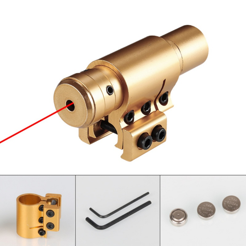 Hunting Paintball Rail Military Gear Equipment Compact Mini Adjustable Visible Tactical Red Dot Laser Gold Color Scope Sight