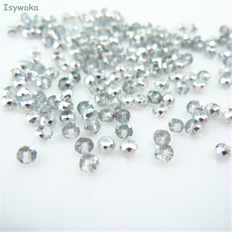 Isywaka Half Silver Color 1980pcs 2mm Rondelle Austria faceted Crystal Glass Beads Loose Spacer Round Beads for Jewelry Making wholesale green color 5000 crystal glass beads loose round stones spacer for jewelry garment 4mm 6mm 8mm 10mm