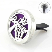 Believe Round Stainless Steel Car Diffuser Locket 30mm Magnetic Essential Oil Perfume Floating Lockets 5pcs