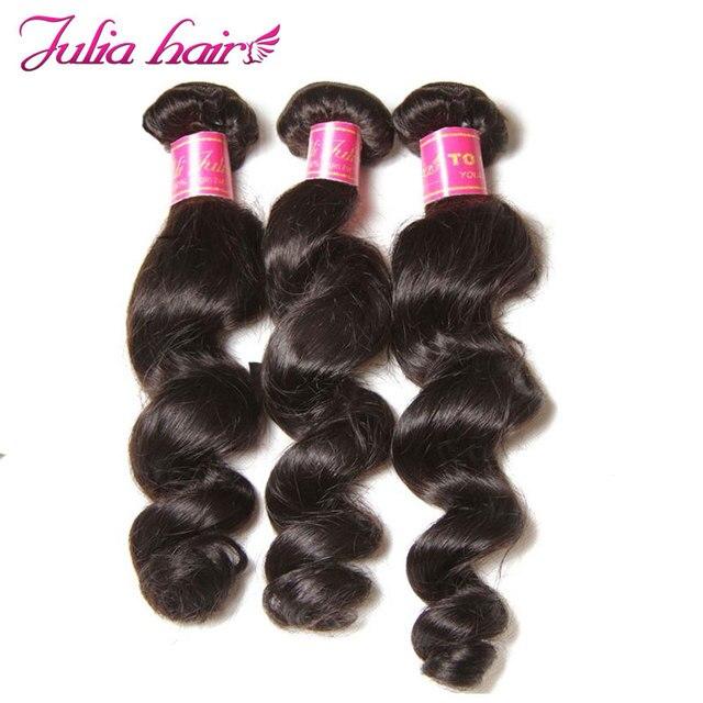 Ali Julia Hair malezyjski luźna fala 100% ludzkich włosów wiązki 16  26 cali przedłużanie włosów naturalny kolor duża fala Remy włosy wyplata|remy hair weave|remy weaveremy hair extensions -