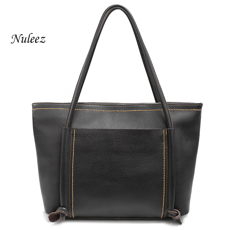 Nuleez Soft Cowhide Big Handbags Women Shoulder Bag Ladies Genuine Leather Luxury Handbags Large Black Tote Weekend Bags 1217 qiaobao 2017 new 100% cowhide leather handbags women patchwork ladies hand bags girls soft genuine leather shoulder bag ladybag