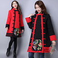 Ethnic Cotton Coat Women Winter Jackets And Coats Vintage Embroidery Down Coat Button Chinese Style Parka Jackets Plus Size Coat