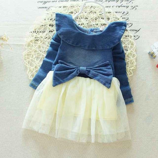 Новая коллекция весна осень детские дети джинсовые колющими кружева с бантом weet малолетними детьми девушки чистая пряжи лоскутное платье Y1697