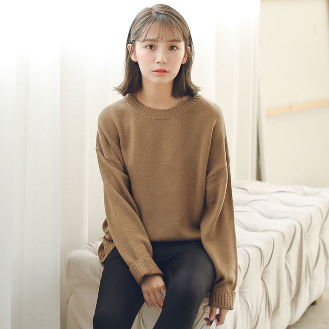 All Match Basic Style Loose Casual Fashion Solid O-neck Long Sleeve Female Sweaters