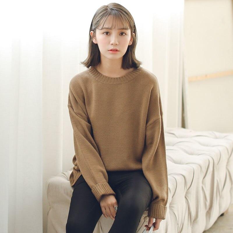 Alle Spiel Grundlegenden Stil Lose Beiläufige Fashion Solid Oansatz Langarm Weibliche Pullover