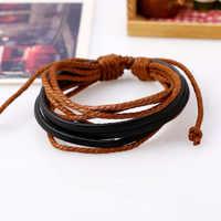 Moda Vintage Pulseras trenzadas Unisex Casual Wrap cuerdas Pulseras joyería para hombres y mujeres