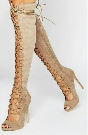 Summer 2017 Hot Sexy Women Camel Solid Color Suede Gladiator Cuts Out Peep Toe Zip Lace Up Thin Heels Knee High Boots Size 35-41 new 2017 hot selling fashion women luxury sexy black gladiator cuts out open toe lace up back 100 mm phaedra peacock sandals