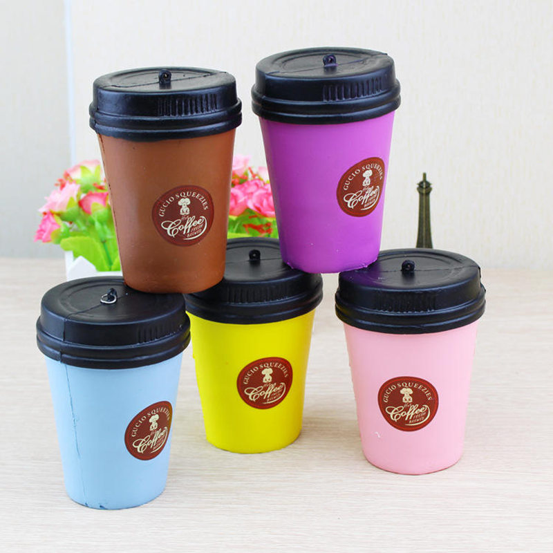 Cute Squishy Coffee Cup Slow Rising Phone Strap Jumbo Kawaii Pendant Stretchy Bread Cake Squeeze Toy Kids Fun Gift