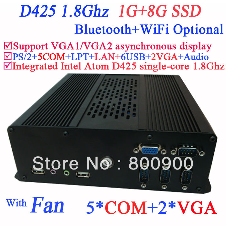 2014 new arrival industrial POS computer with dual VGA Intel Atom D425 single-core processor 1.8Ghz 1G RAM 8G SSD Windows Linux