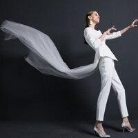 Высокое качество женские костюмы брюки костюм нерегулярный белый костюм мода OL Куртка Бодибилдинг 2 шт. костюм свадебный костюм с вуалью