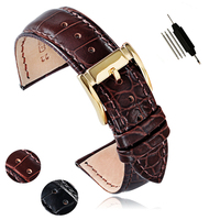 Replacement Men Women 18 20 22mm High Quality Genuine Cow Leather Black Brown Silver Gold Buckle