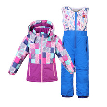 Girls Ski Suit Winter Waterproof Boys Outdoor Sports Snowboard Jacket Children Skiing Set Hooded Warm and Windproof Terno