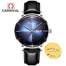 Carnival luxury brand military watch men switzerland genuine leather auto mechanical watches waterproof clocks uhren montre