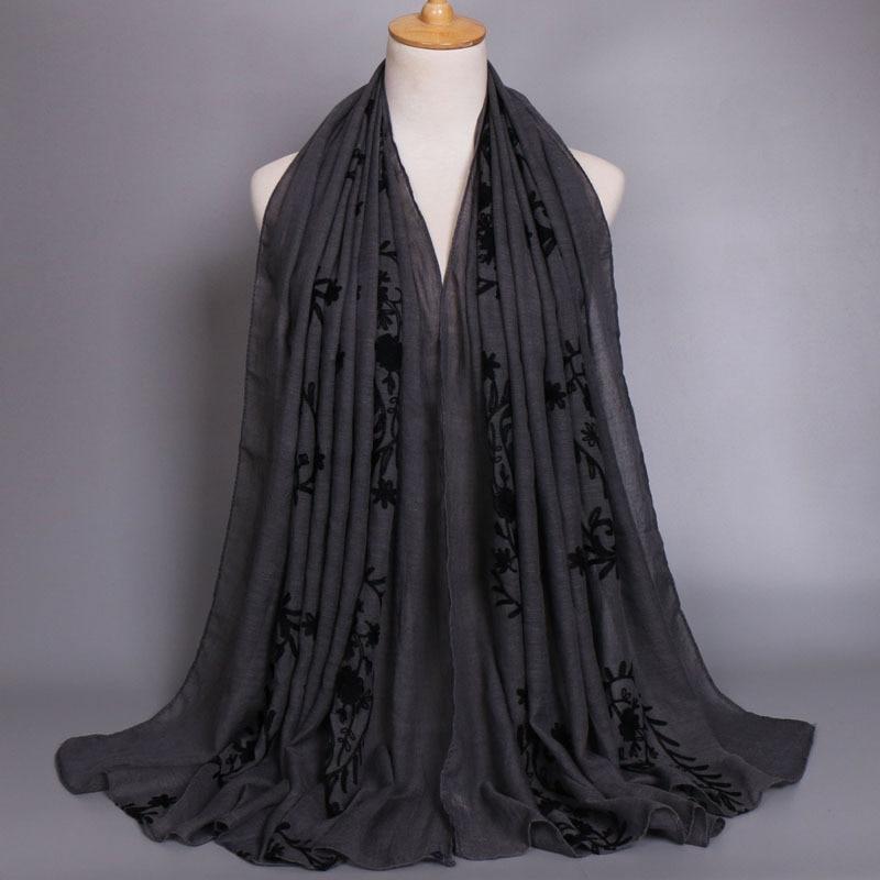 Plain Embroidered Cashew Floral Viscose Shawl Scarf 2019 Ladies Fashion Big Size Cotton Wrap Foulard Sjaal Bufandas Muslim Hijab