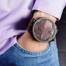 Oulm duże zegarki na rękę dla mężczyzn wiele stref czasowych Sport zegar kwarcowy mężczyzna luksusowa moda Sport mężczyźni zegarek Relogio Masculino