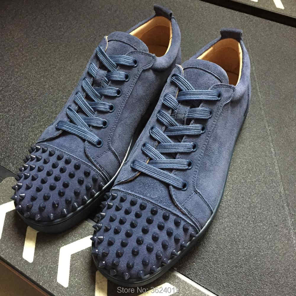 cl andgz Men Navy Blue High Cut Flat Casual Lace up Red bottoms for Man  Rivet c0117d7723ed