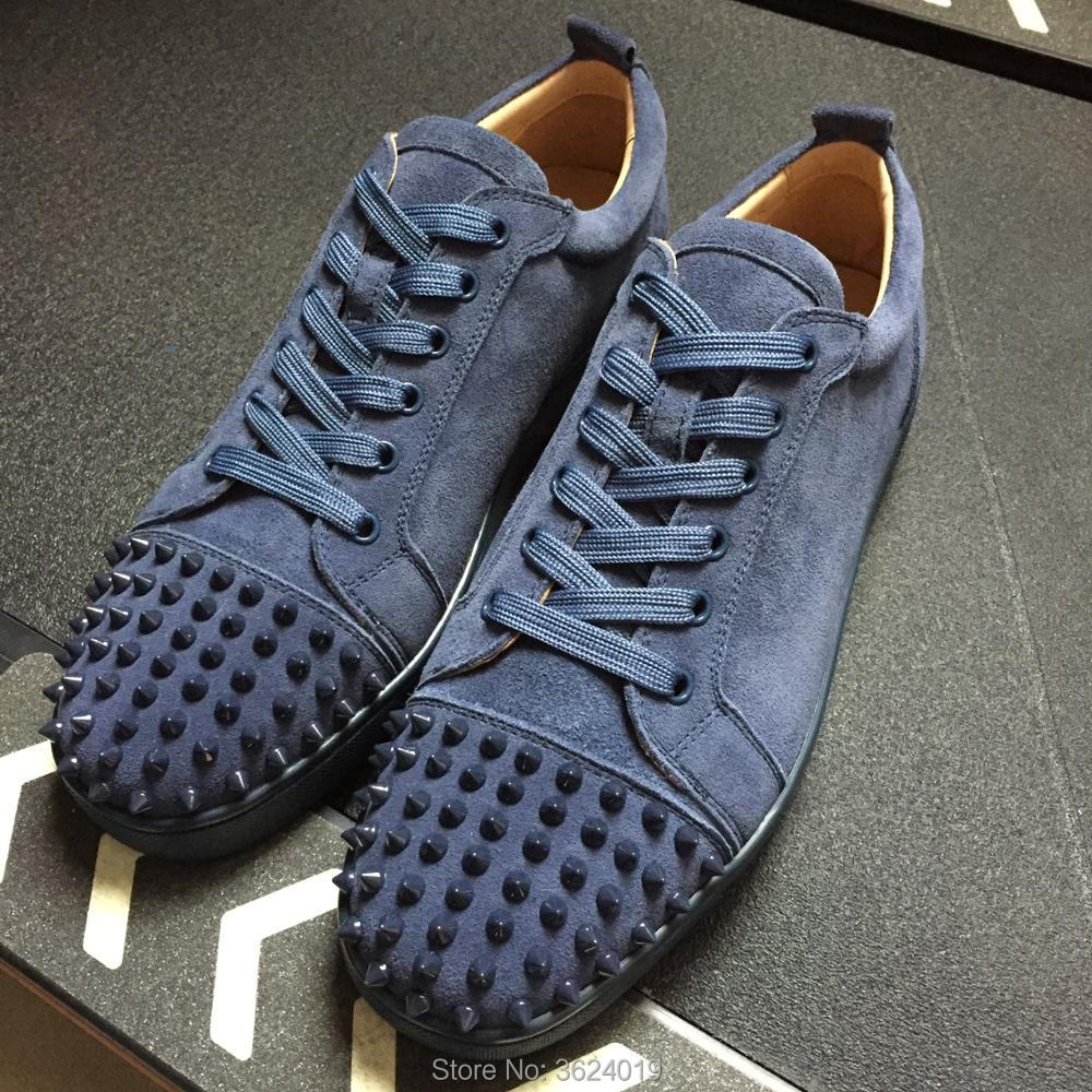 58fb73c7e87 cl andgz Men Navy Blue High Cut Flat Casual Lace up Red bottoms for Man  Rivet shoes Sneakers Leather Loafers 2018 Footwear