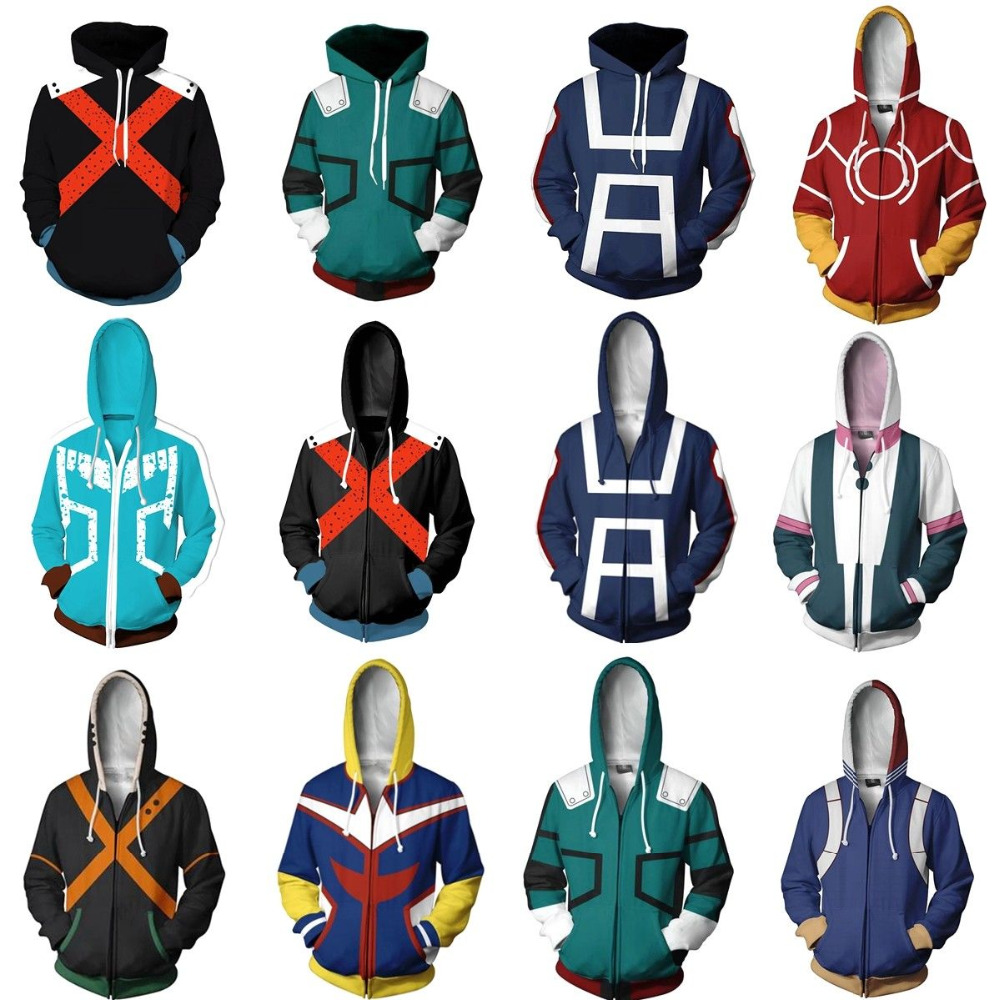 Boku No/My Hero Academia Midoriya Izuku Deku Cosplay Men Women Sweatshirt Hoodies School Uniforms Zip Up Jackets Coat Costume