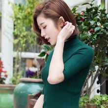 new fashion spring summer female basic thin sweater women half sleeve slim all-match turtleneck knitted solid color pullover top