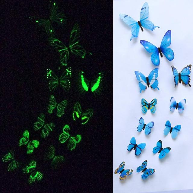 12pcs Luminous glow in dark Butterfly Design Decal Magnetic magnet sticking 3D double feather butterfly fridge stickes       802