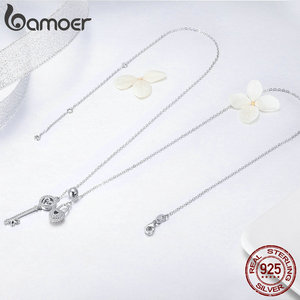 Image 3 - BAMOER Romantic 925 Sterling Silver Key of Heart Lock Chain Pendant Necklaces for Women Sterling Silver Jewelry Collar SCN290