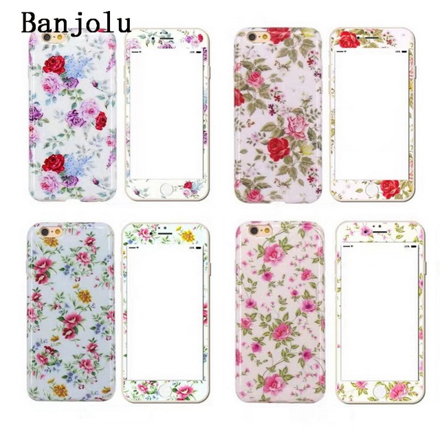 official photos e6250 d8b06 US $8.99 |Banjolu Flower Cases + Tempered Glass Screen Protector Case for  iPhone 6 6s Plus 7 7Plus Soft Gel TPU Back Cover-in Fitted Cases from ...