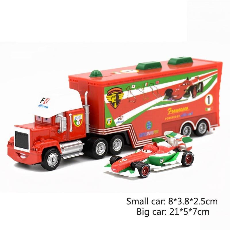 Дисней Pixar Тачки 2 3 игрушки Молния Маккуин Джексон шторм мак грузовик 1:55 литая под давлением модель автомобиля для детей рождественские подарки - Цвет: Two cars 11