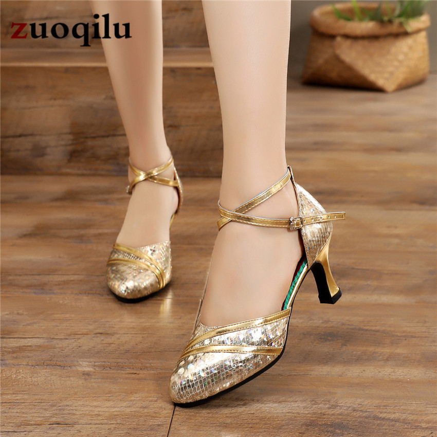 Gold Silver High Heels 2020 Pumps Women Shoes Latin Dance Shoes Low Heels Female Wedding Party Shoes #32-33