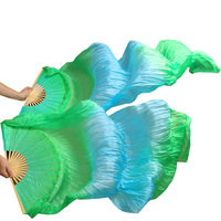 2017 female high quality Chinese silk veils dance fans Pair of belly dancing fans cheap hot sale Green+Turquoise+Green