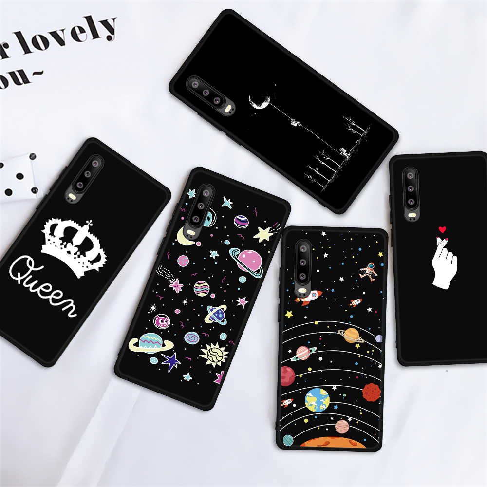 Patterned Dark Matte Case For Huawei P30 P20 Mate 20 10 Lite Pro Ultra Thin Back Cover For Huawei P Smart Cute Black Coque