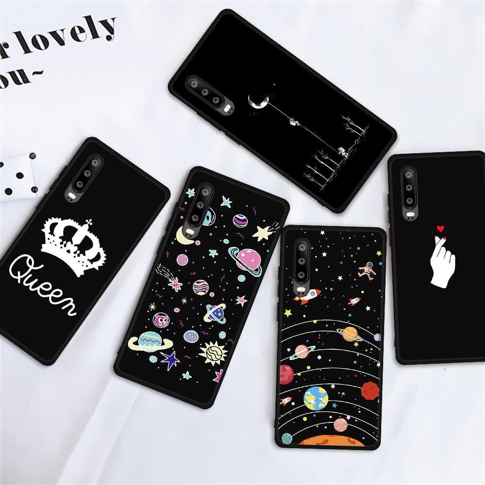 Desenli Koyu Mat Kılıf Için Huawei P30 P20 Mate 20 10 Lite Pro Ultra İnce arka kapak Için Huawei P Akıllı sevimli Siyah Coque