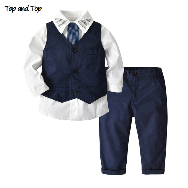 Top and Top Clothing Sets Gentleman Kids Clothes Set Wedding and Party Boys Clothes 3Pcs/set Shirt+Vest+Pants Boys Formal Wear 1