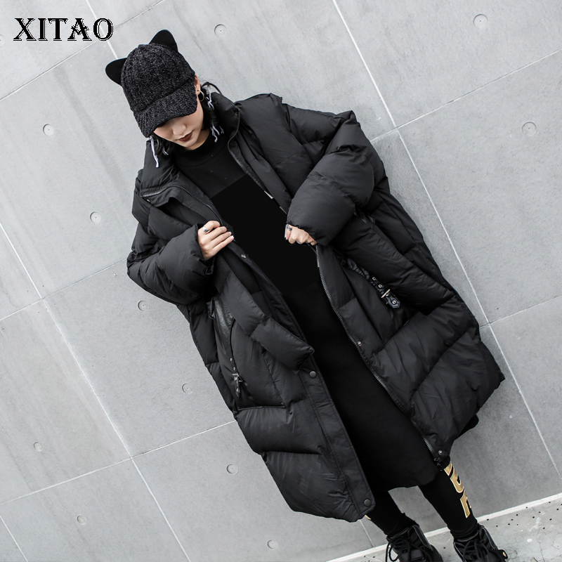[XITAO] Long Women 2018 Winter Korea Fashion New Arrival Full Sleeve Thick Coat Female Solid Color Pocket Straight   Parka   LJT4621