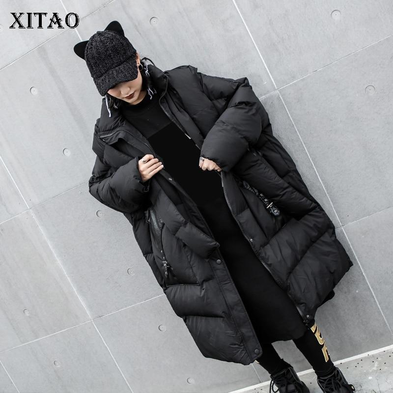 [XITAO] Long Women 2018 Winter Korea Fashion New Arrival Full Sleeve Thick Coat Female Solid Color Pocket Straight   Parka   LJT4621