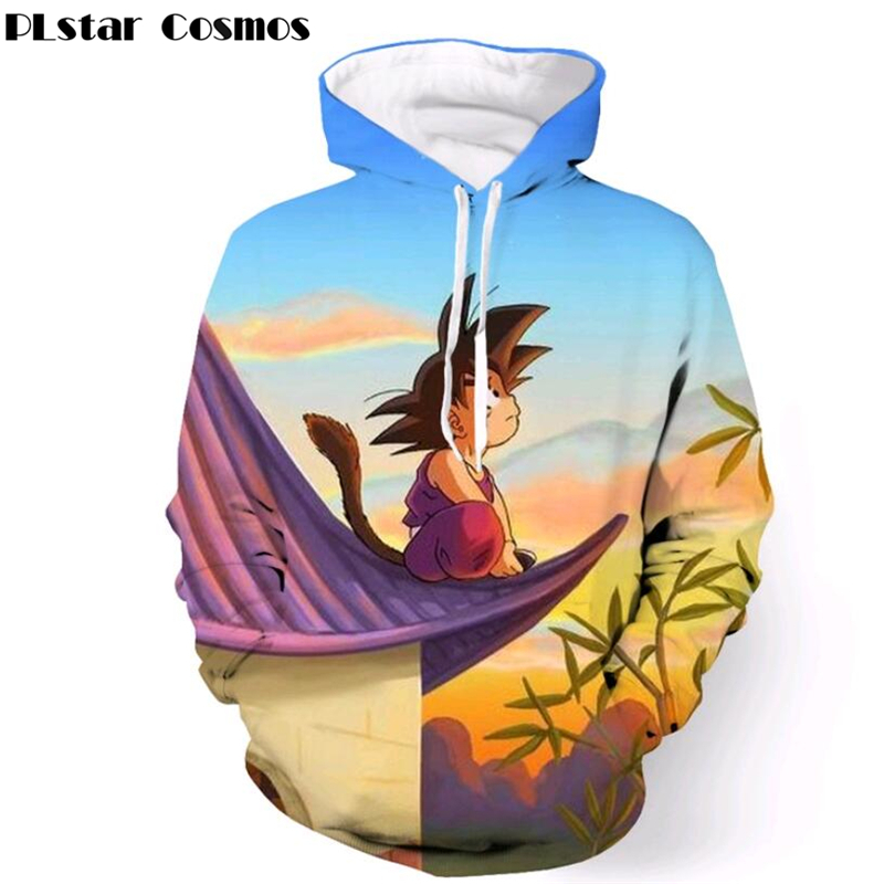 Classic Anime Dragon Ball Z Hooded Sweatshirts fashion Outerwear Cute Kid Goku Sunset 3D Hoodies Men Women casual Pullovers