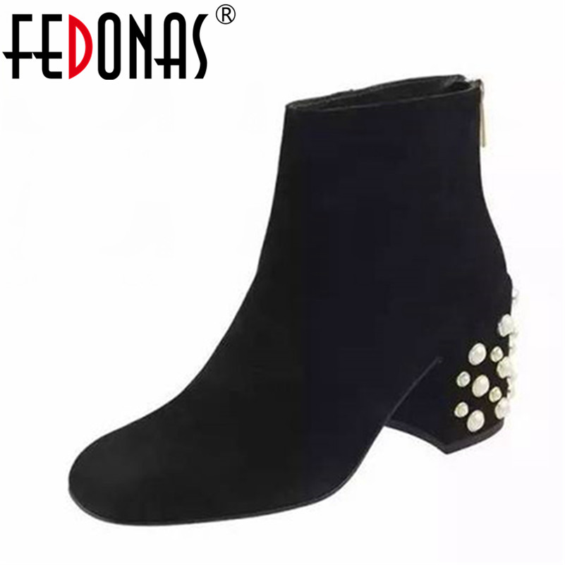 FEDONAS 2018 Brand Fashion Ankle Boots Women Autumn Winter Warm Genuine Leather Snow Boots Shoes Woman Beading Elegant Shoes fedonas top quality winter ankle boots women platform high heels genuine leather shoes woman warm plush snow motorcycle boots