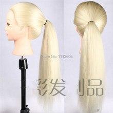 Фотография New Arrival Mannequin Hairdressing Training Head 100% High Temperature Fiber More Thicker Golden Hair Mannequin Head