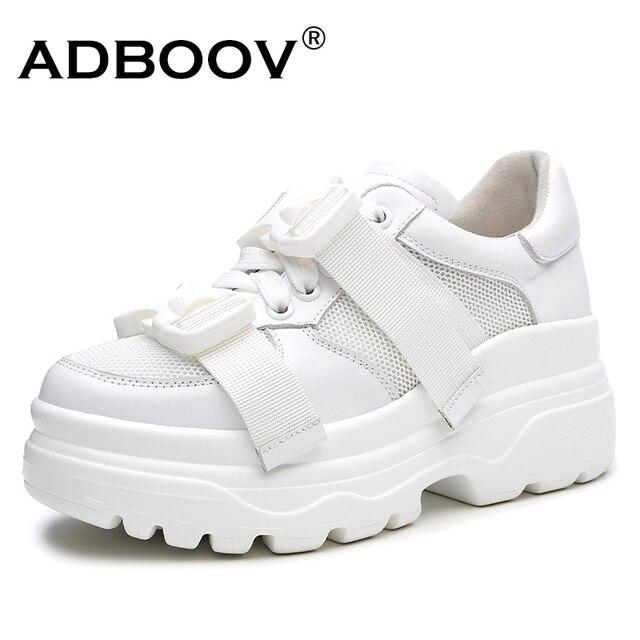 a70aa0fc134b ADBOOV Leather + Mesh Platform Sneakers Women 2018 Fashion Buckle Women Dad  Shoes Flat Walking Shoes