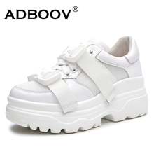 ADBOOV Leather + Mesh Platform Sneakers Women 2018 Fashion Buckle Women Dad Shoes Flat Walking Shoes Woman Casual Footwear