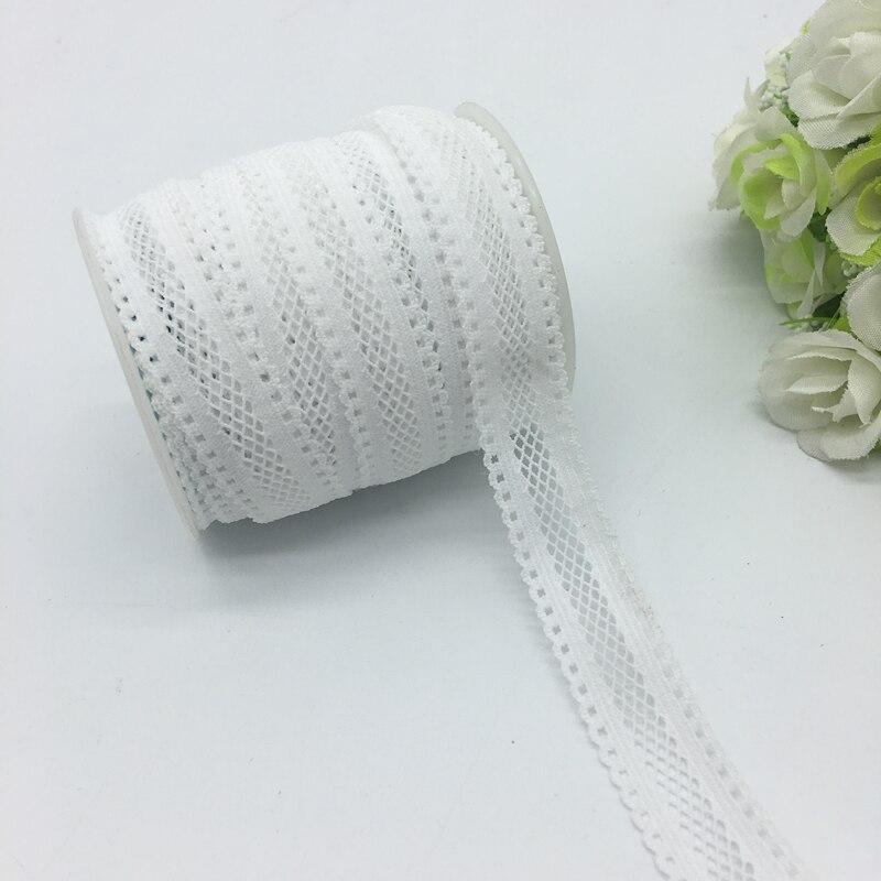 5 ярдов/партия 5/8 «(16 мм) белый Двусторонние Кружева сетка складной эластичный спандекс кружева повязка-галстук волосы аксессуары шнуруют отделку