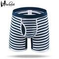 Hot 2017 Nova Barato Senhor Moda Algodão dos homens Sensuais Boxers calções Marca Mans Underwear Underpant Masculino 3D U Convexo Listrado calcinha