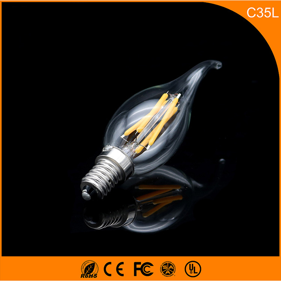 50PCS E12 E14 LED Bulbs C35 3W LED Filament Candle Bulbs 360 Degree Light Lamp Vintage pendant lamps AC220V