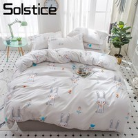 Solstice Home Textile Simple Kitty Cat Duvet Cover Pillowcase Flat Sheets Kid Children Girls Bedding Set 3 4Pcs Bed Linens Queen